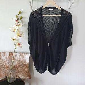 helmut lang black zip up draped cardigan